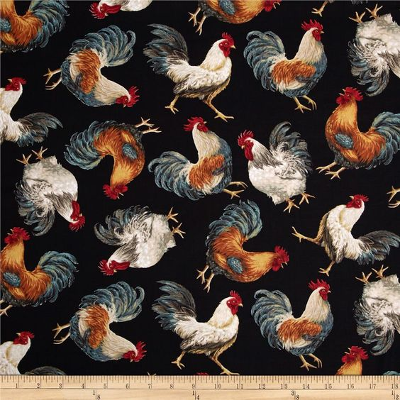 Timeless Treasures French Country Tossed Roosters Black from @fabricdotcom  Designed by Dona Gelsinger for Timeless Treasures, this cotton print fabric is perfect for quilting, apparel and home decor accents. Colors include black, brown, maroon, red, burnt orange, orange, yellow, grey, tan, teal, gold and cream.: