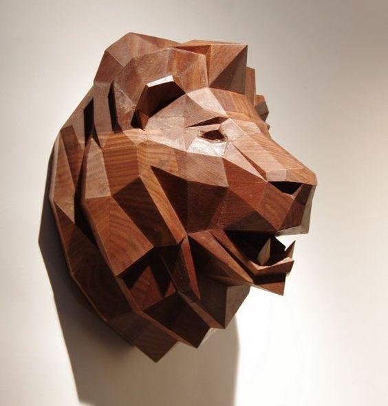 Wooden Lion Head Precious Oiled Black Walnut by PaperwolfsShop