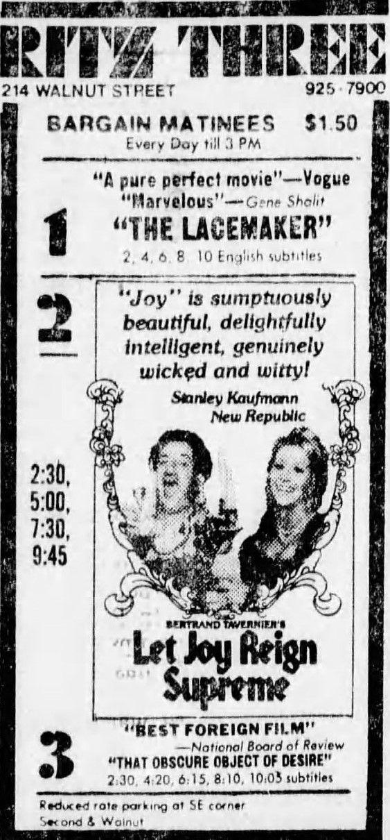 Let Joy Reign Supreme Que La Fete Commence 1975 Perfect Movie Philadelphia Inquirer Bertrand