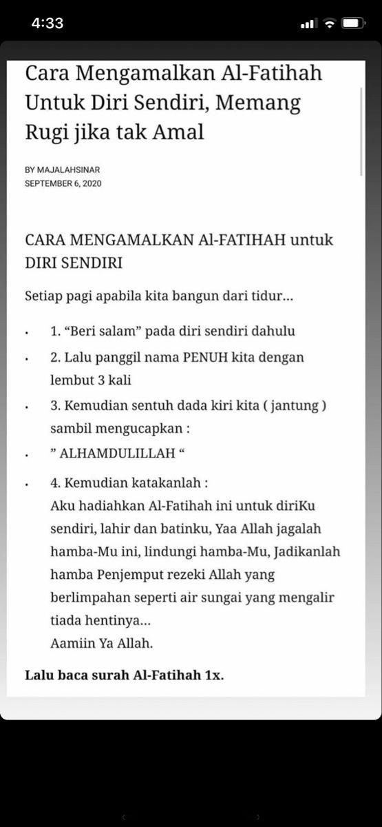 Doa Untuk Diri Sendiri : untuk, sendiri, Amalan, Al-fatihah, Untuk, Sendiri, Kutipan, Kata-kata, Indah,, Pengetahuan