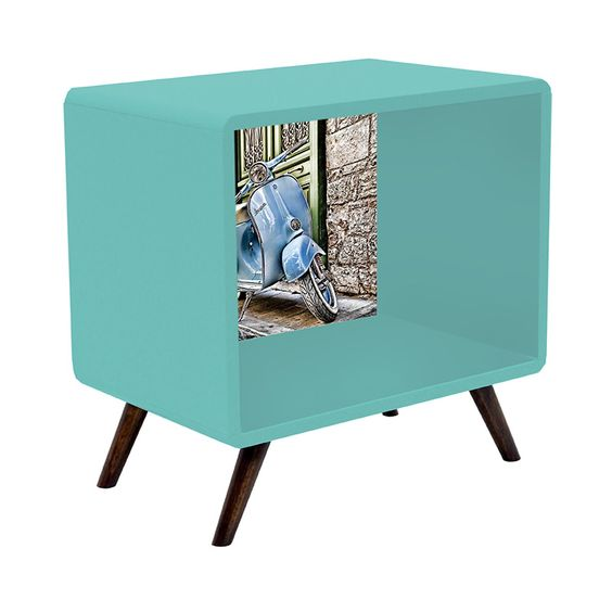 Criado Mudo Quadrado Dominique cor Azul com Estampa de Lambreta - Fabricado em MDF - Linha Retrô