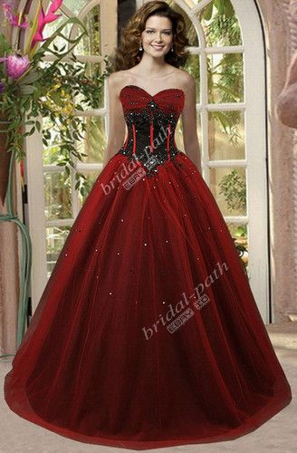 Details about Gothic Black and Red Ball Gown Wedding Dress ...