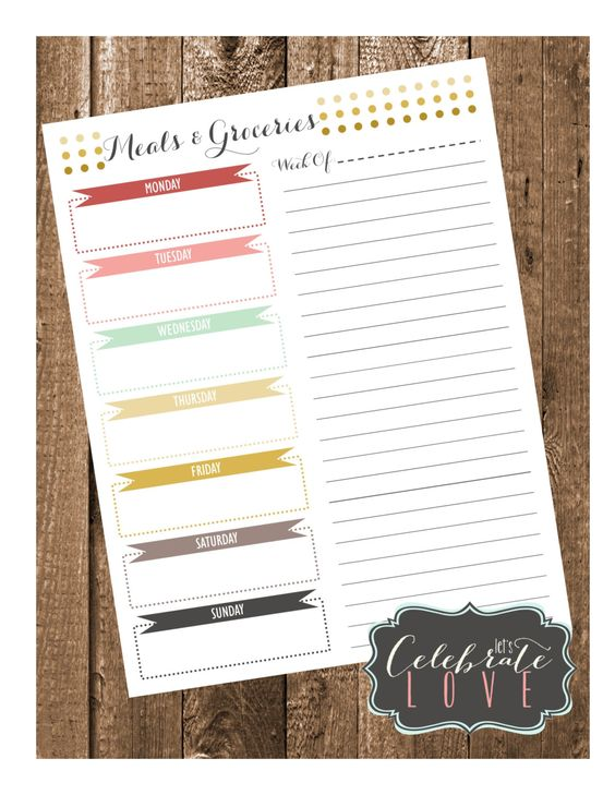 2015 Chic Meal Planner & Grocery List - pinned by pin4etsy.com