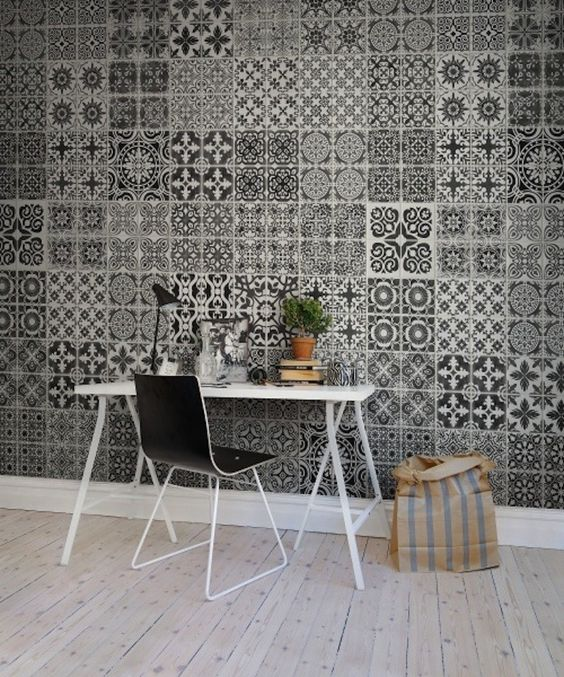 Beautiful home workspace Rebel Walls Wallpaper Marrakech Black I Remodelista