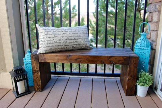 Rustic and Lightly Distressed Wood Bench. Customizable Size and Color.