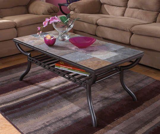 Signature Design By Ashley Antigo Slate Tile Raised Coffee Table Big Lots In 2021 Slate Coffee Table Slate Top Coffee Table Coffee Table