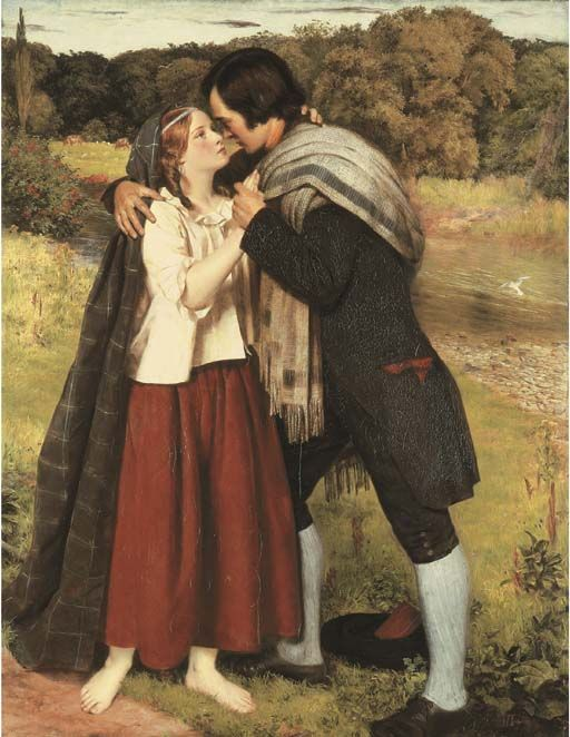 The Betrothal of Robert Burns and Highland Mary. Oil On Canvas by James Archer, R.S.A. (1823-1904).