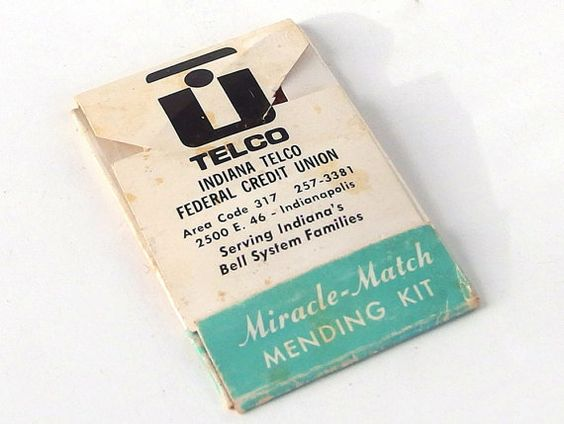 Vintage 1960's Indiana Telco Miracle Match Mending Kit Advertising Gimmick