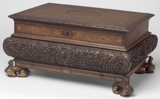 Coffer, Partially gilded walnut with wood and gilded paste inlays, France, 1570-1600