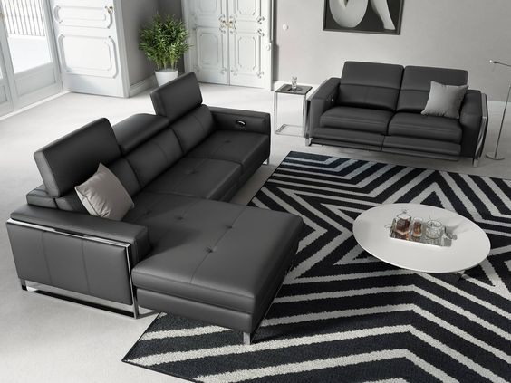 Eckgarnitur   Sofa mit Relaxfunktion in Leder   Sofanella Valiano
