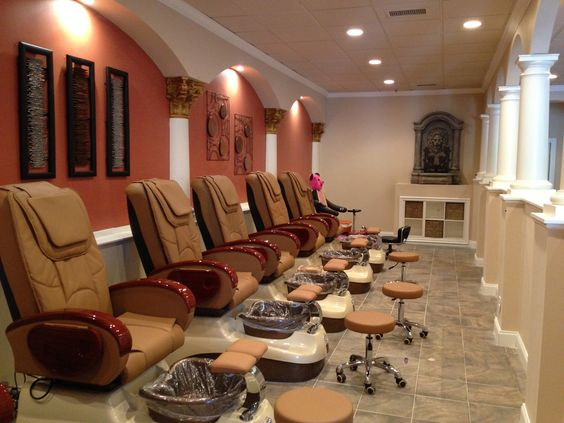 Nail spa spas and nail salons on pinterest for Best spa interior designs