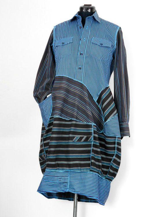 Shirtdress Stripey coton recyclé / OOAK sculptés par Tailortrash