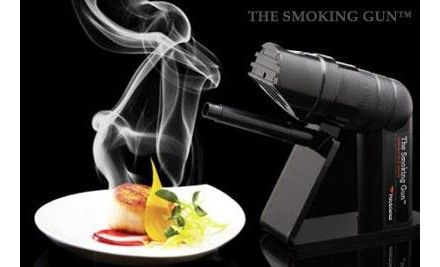 Shopcaster - Nella Cucina: The Smoking Gun is a handheld food smoker from @polyscience that allows you to quickly smoke anything- butter, oysters, cocktails, salads, chocolate..