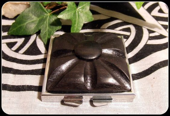 Compact Mirror Box Silver tone inset with 5000 year old Irish Bog Oak wood handcrafted carved special gift in an organza bag - New Moon Enterprise  - 1