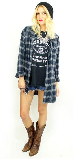 Blue Plaid Grunge Flannel $28