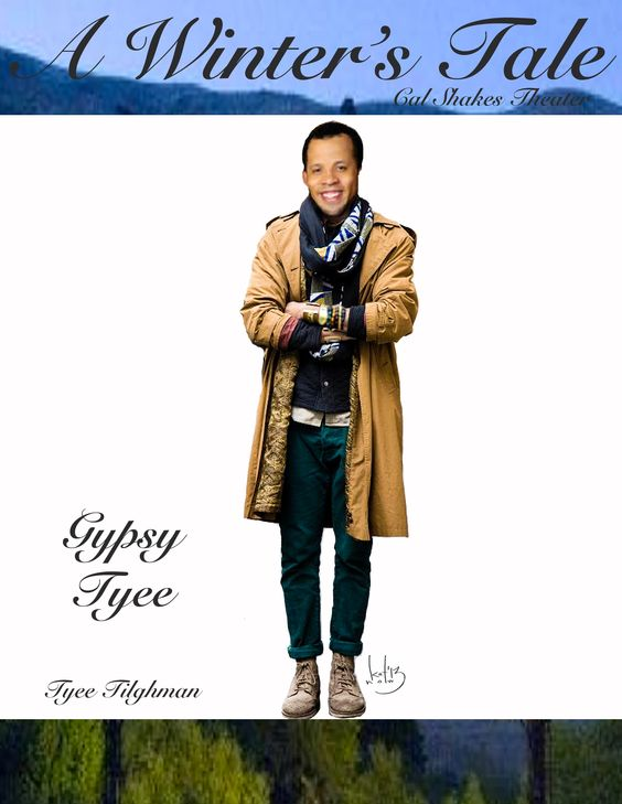 Tyee Tilghman in a Gypsy costume sketch by Katherine Nowacki in Cal Shakes' A Winter's Tale.