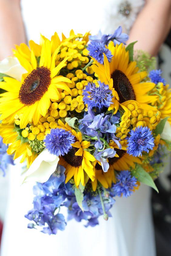 Sunflower, Cornflower, and Delphinium blues design by petals and promises, llc