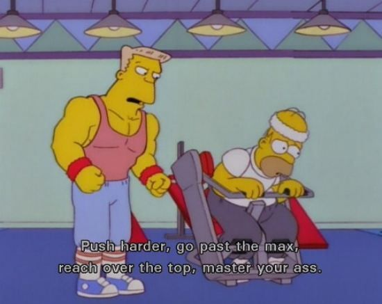 Image result for Homer Simpson trying to workout