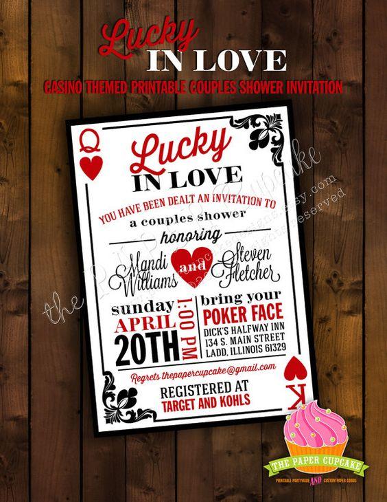 Printable Bridal Shower Invitation Design Lucky In Love Casino Las Vega