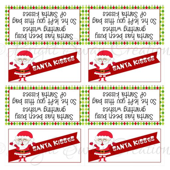 Instant Download - Santa Kisses Treat Bag Topper - print