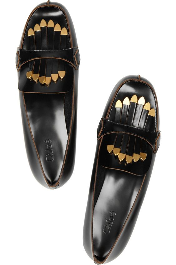 Chloé | Fringed patent-leather loafers....