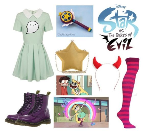 """Star VS The Forces of Evil"" by everyfandomever ❤ liked on Polyvore featuring Lavish Alice, Dr. Martens, Nali and Disney:"