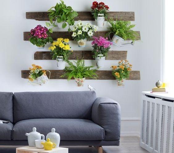 Mini jardín vertical con palet