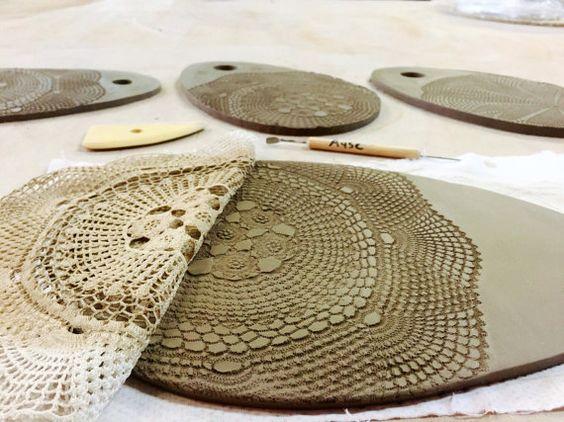 Junta de plato de cerámica/porción - hecho a mano cerámica tabla de quesos