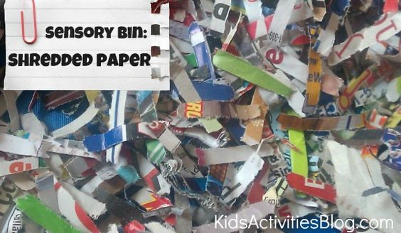 Have fun with the kids and make a sensory bin out of shredded paper! It was a huge hit!