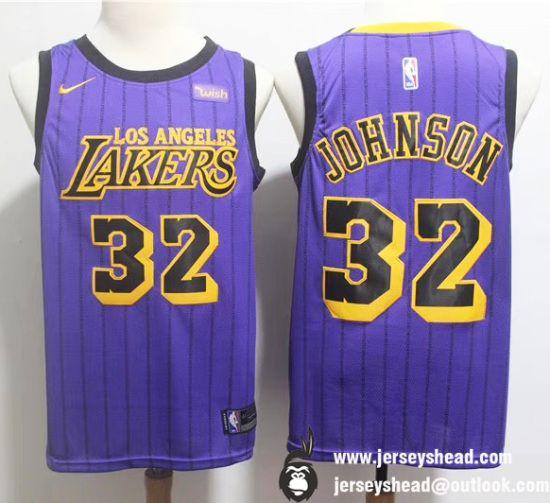 Los Angeles Lakers 32 Magic Johnson Purple Printed Edition Jerseys Magic Johnson Nba Gear Los Angeles Lakers
