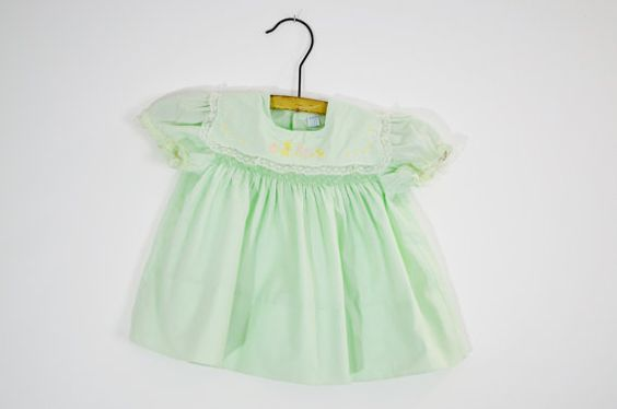 Vintage 50s Baby Girl Light Green Dress Bunny by RufflesandDaisies