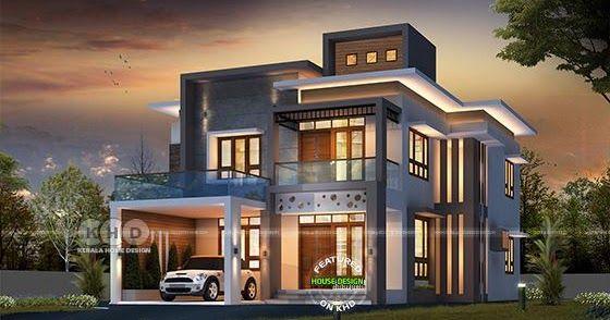 2450 Square Feet Modern Contemporary 4 Bedroom Home Modern Contemporary House Plans Contemporary House Plans Kerala House Design
