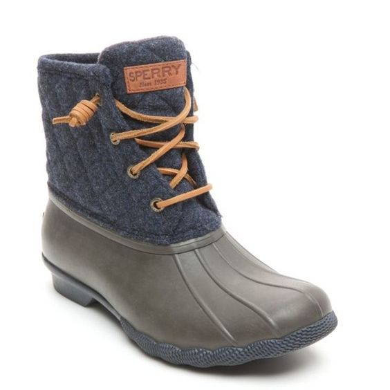 Sperry Navytaupe Saltwater Quilt Wool Duck Boots - Women's ($90) ❤ liked on Polyvore featuring shoes, boots, sperry boots, sperry, fleece lined shoes, wool boots and duck boots