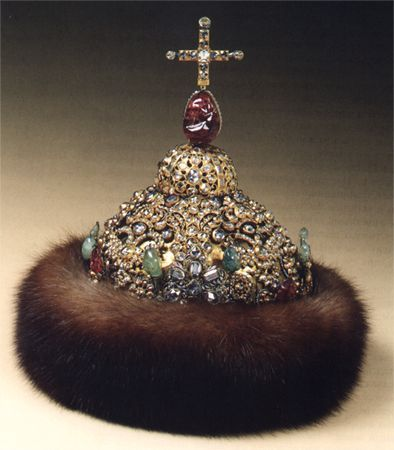 """Diamond Crown Russia, the Moscow Kremlin workshops, 1682-1687. Gold, silver, precious stones, fur; casting, embossing, engraving, enamel. Height: 28,3 cm; circumference: 65,0 cm. Belonged to Tsar Peter Alexeevich"" (quote) © The Moscow Kremlin State Historical and Cultural Museum and Heritage Site via kreml.ru"