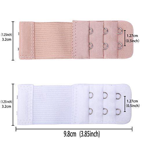Bra Extender Extension 4 Hook PACK OF 3 Clip On Strap Elastic Black White Nude