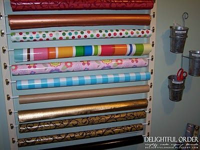diy wrapping paper organization with cafe curtain rods