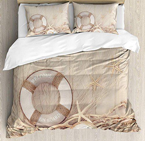 Yolika Coastal Full Bedding Duvet Cover Set 4 Piece Hotel Quality
