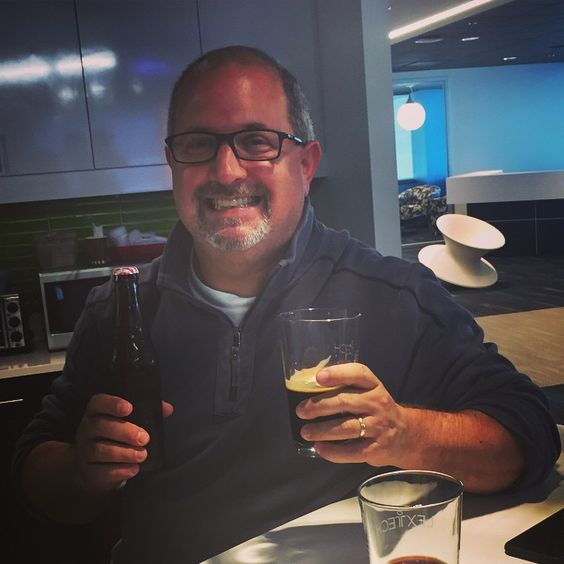 New BizDev Account Exec Dan is rockin' some home brews while doing a review of our case study portfolio with Cyril. Kiwi wheat & IPA??? #team #culture #company #beer #homebrew