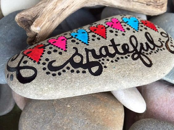 Grateful / gratitude / thankful / painted rock by LoveFromCapeCod