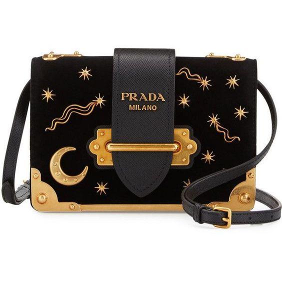 Prada Cahier Astrology Velvet Shoulder Bag (£1,600) ❤ liked on Polyvore featuring bags, handbags, shoulder bags, clutches, black, embellished handbags, flap handbags, shoulder handbags, shoulder hand bags and prada