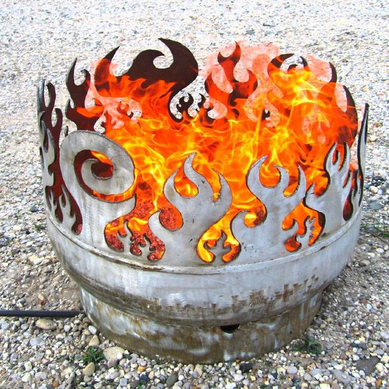 Make a Portable Fire Pit out of Recyled Materials (this one is for sale on etsy) . . . washing machine drum, weber grill, oil drum . . .