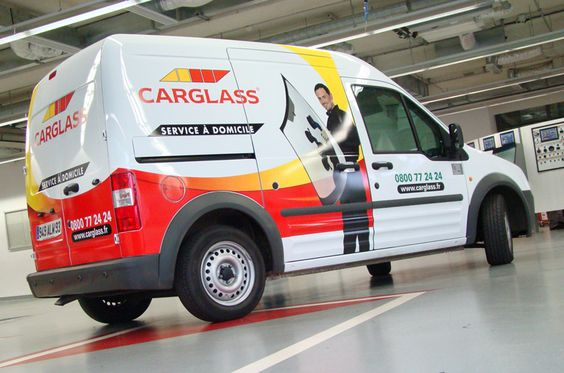 "#Carglass car wrapping by ""Megamark,  credit : www.megamark.fr Interestingly, this #brand (Carglass or #Autoglass) has managed to use the car branding as a symbol of its ambitious customer relationship. The wrapped car is shown in all points of contacts, even TV shows, it epitomizes the presence and the ""on site"" services delivered by the brand."