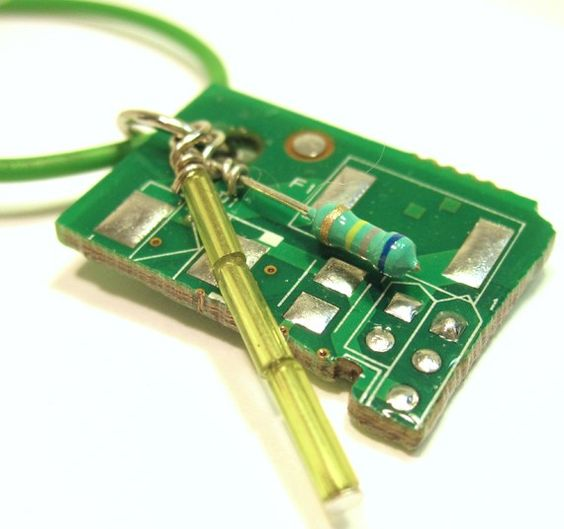 Circuit Board Pendant on Lime Wire Necklace by clonehardware, 25.00