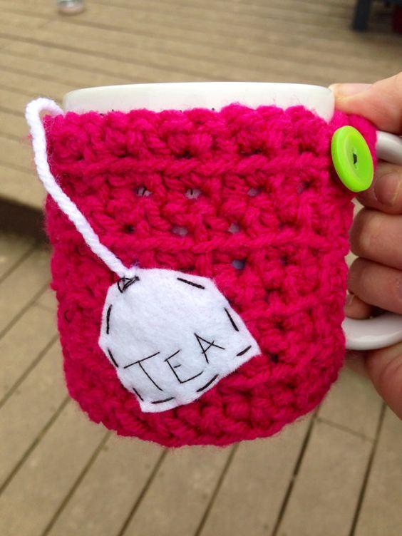 Tea bag cup cozy crochet mug cozy by mandag433 on Etsy