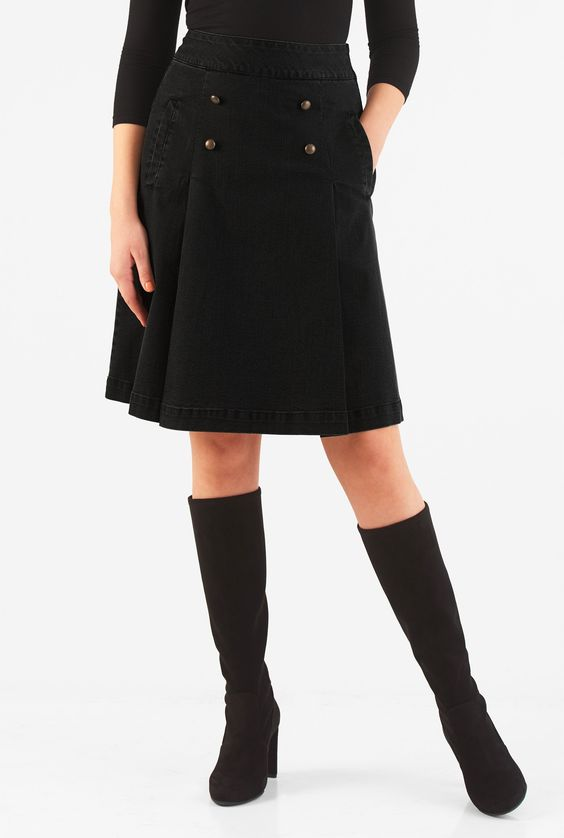 eShakti Women's Black denim button pleat skirt 1X-16W Short Black ...