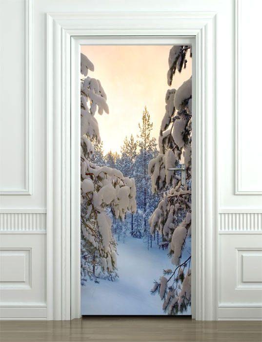 Snow Door Stickersnow Door Wallpaper Snow Door Mural Wall Etsy Door Murals Door Stickers Wallpaper Door