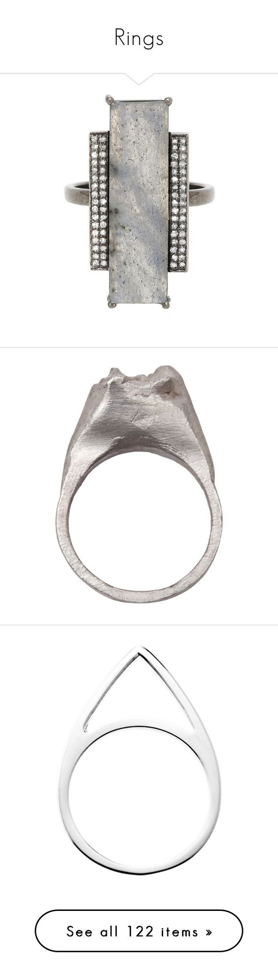 """Rings"" by eva-jez ❤ liked on Polyvore featuring jewelry, rings, grey, white diamond ring, rectangle rings, grey jewelry, adornia, accessories, fillers and anillos"