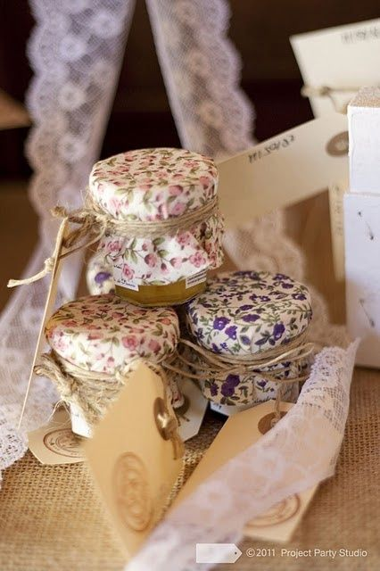 Homemade jam with pretty fabric on time