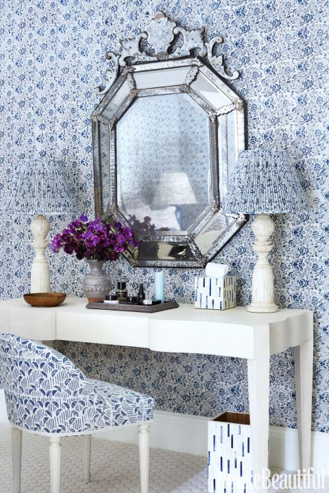 Dressing area with blue and whit wallpaper and Venetian mirror. Markham Roberts. Amazing Blue and White Traditional Interior Design Ideas! #blueandwhite #dressingroom #traditional