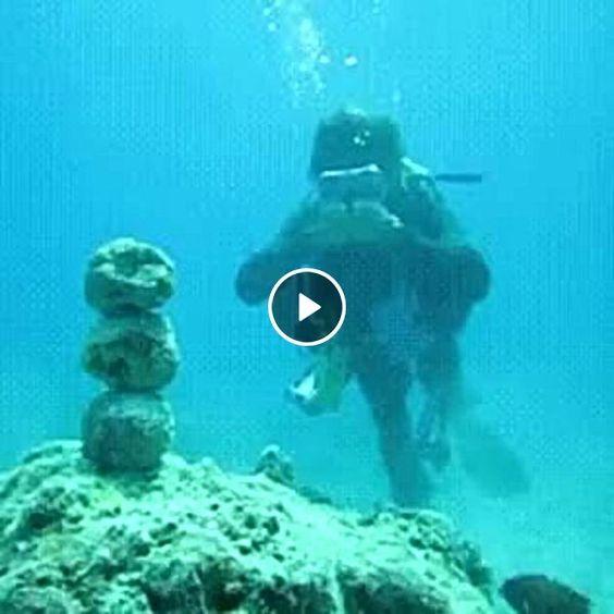 Olha que esse cara faz no fundo do mar.